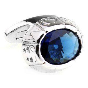 NEW Large Blue Center Swarovski Crystal Cufflinks